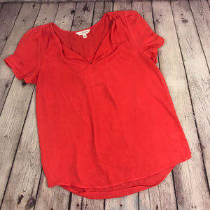 Charming Charlie Bright Red Flowy Blouse Size S